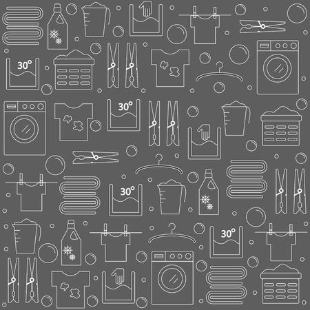 Laundry. Achtergrond met pictogrammen wasserette. voor uw bedrijf of winkel. illustratie. Vector Illustratie