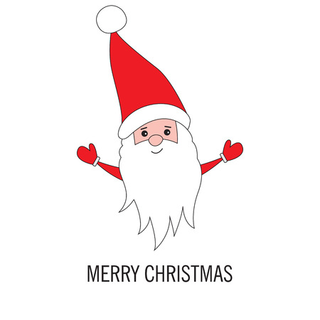 white bacjground: Christmas Santa Claus isolated on white background. Greeting card for Christmas and New Year. illustration.