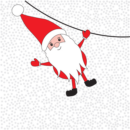 white bacjground: Santa Claus coming down the rope. Christmas card. illustration.