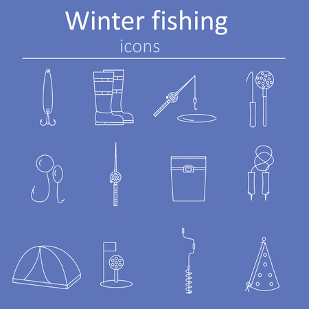bait box: Set of linear web icons winter fishing. Accessories for fishing on the ice. illustration. Illustration