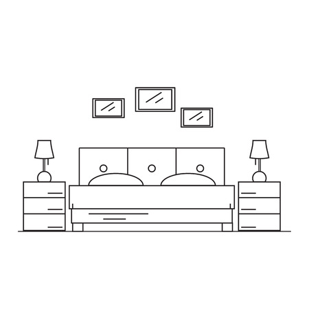 interior design bedroom: Interior design bedroom in the house or hotel. Room to sleep in the style of the line. illustration.