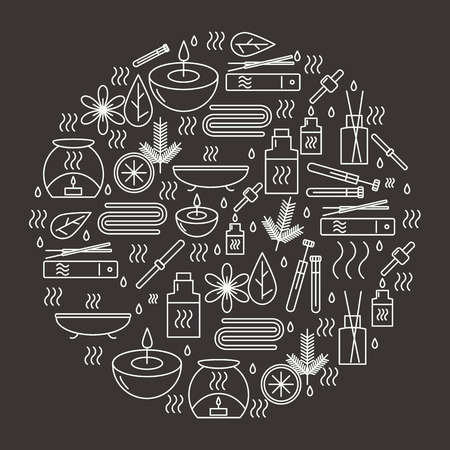 beauty therapist: Aromatherapy. Round with icons aromatherapy. Icons for relaxation and spa. illustration.