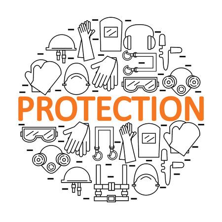 Rotonda con dispositivi di protezione individuale. Protezione della salute e il corpo. illustrazione.