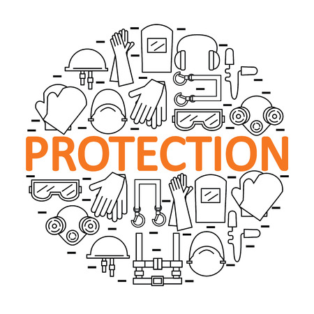 protective: Round with personal protective equipment. Protection the health and the body. illustration. Illustration