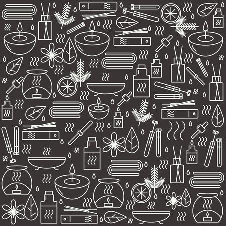 Aromatherapie. Hintergrund mit Symbolen für die Aromatherapie und Entspannung. Muster für den Entwurf. Illustration.