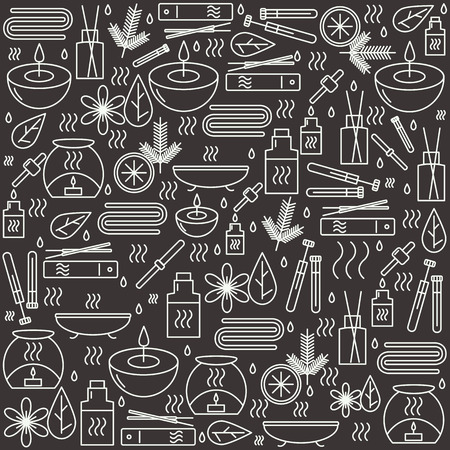 beauty therapist: Aromatherapy. Background with icons for aromatherapy and relaxation. Pattern for design. illustration.