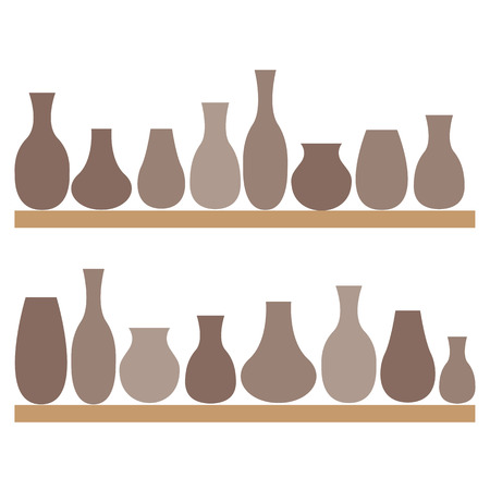 earthenware: Clay jugs and vases on the shelves. Pottery. illustration.
