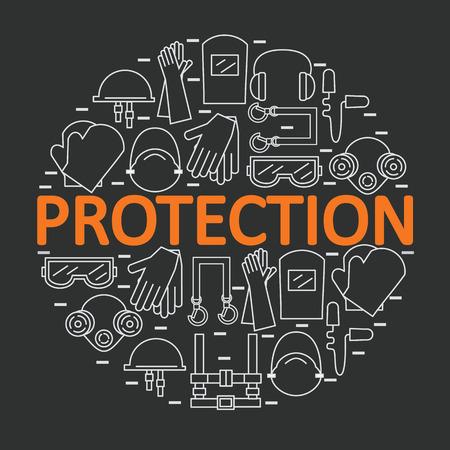 Round avec un équipement de protection individuelle. Protection de la santé et le corps. illustration.