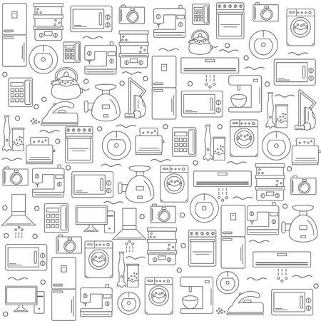 Electrodomésticos. Fondo con la imagen de los aparatos electrodomésticos. Blanco para su empresa o tienda. ilustración. Ilustración de vector