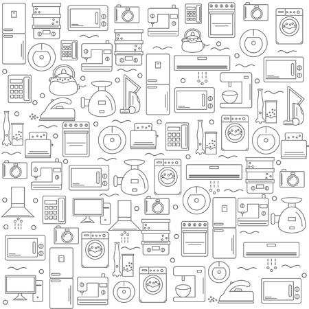 home appliances: Home appliances. Background with the image of home appliances. White for your company or shop . illustration.