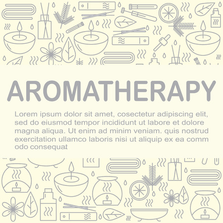 beauty therapist: Aromatherapy. Background with icons for aromatherapy and relaxation with place for you text. Pattern for design. illustration.