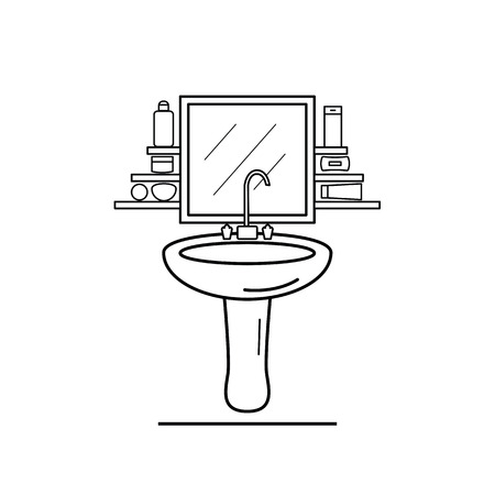 pedestal sink: The interior of a bathroom with a wash basin in the style of the line Illustration