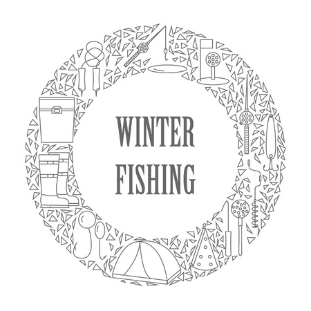 Icons of winter fishing arranged in a circle.
