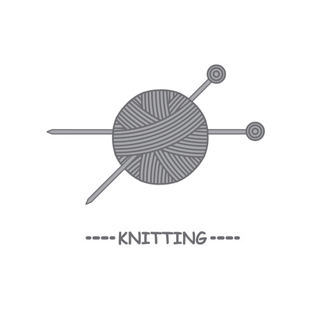 Ball of yarn and knitting needles. Tools for manual work. Hobbies.