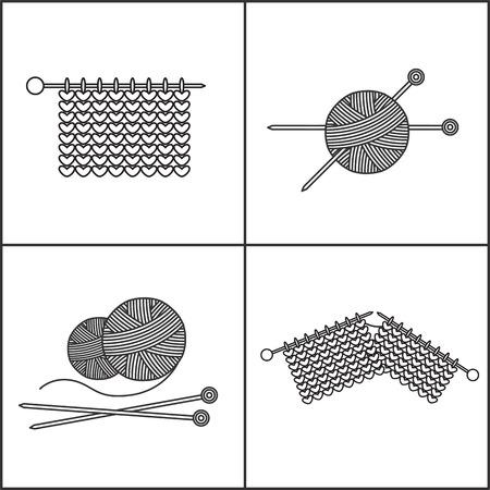 Ovillo de lana, tejido de punto y agujas de tejer.