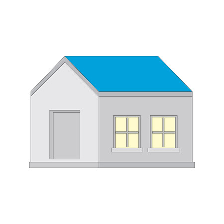 detached: Detached house isolated on white background with a blue roof. Illustration