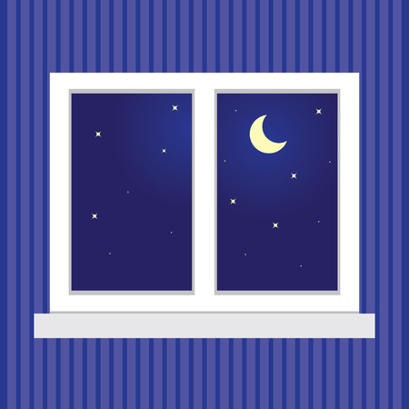 Night sky with stars and a month in the window. Window on a blue striped wall. Vector illustration.