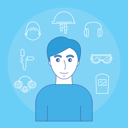 Image of man and icons of personal protective equipment sight, hearing, and head. Illusztráció