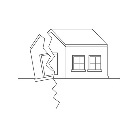 cleft: Earthquake. Catastrophic natural phenomenon destroying houses. Disaster. Vector illustration.
