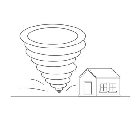 catastrophic: Tornado. Catastrophic natural phenomenon destroying houses. Disaster. Vector illustration.