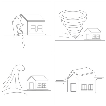 winds: Four natural phenomena destroying homes. Katastrofa.Tornado. Tsunami. Earthquake. Hurricane winds. Vector illustration.