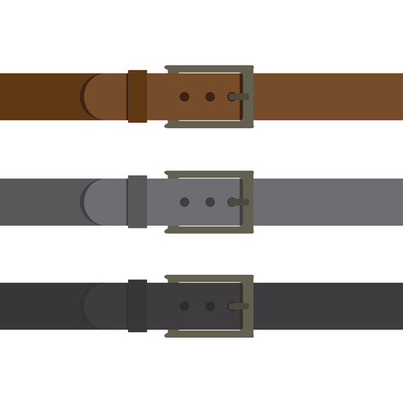 Three multi-colored belt insulated on white background. Fashionable modern accessory. Black gray and brown belt. Vector