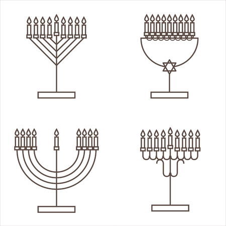 judaic: Four candlesticks with nine candles. Candlestick with candles for Hanukkah. Vector illustration. Illustration
