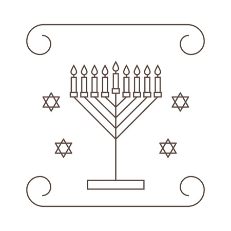 Happy Hanukkah. Greeting card with a candlestick and candles. Vector illustration.
