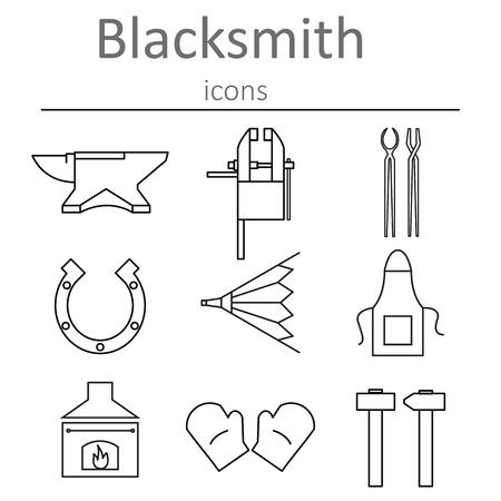smithery: Blacksmithing craft. Blacksmith tools icons. Vector illustration.