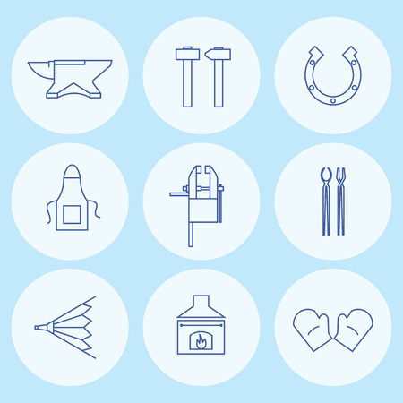 smithery: Blacksmith tools icons. Vector illustration.