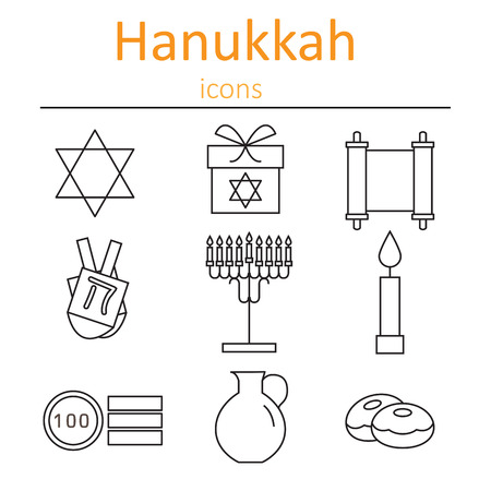 burning money: Hanukkah Symbols. The icons in the style of outlines. Vector illustration.