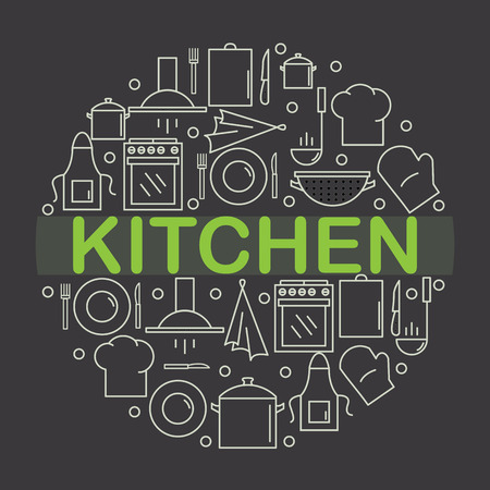 Kitchen icon inside the circle in the style of the line. Vector illustration.