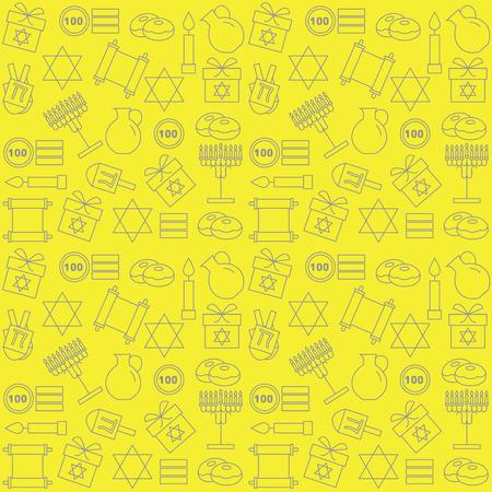 Pattern with symbols of Hanukkah on a yellow background. Celebratory background. Vector illustration.