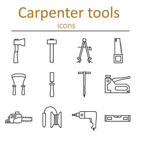 planos electricos: A set of carpenter tools in the style of the line. Vector illustration.