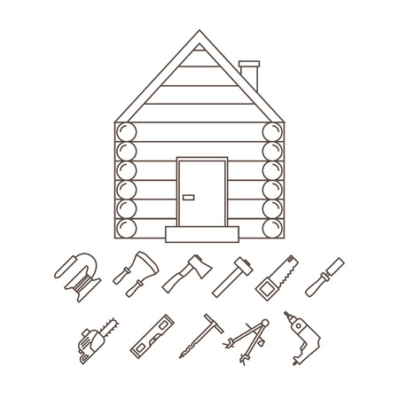 planos electricos: The image of a log house and tools for its construction. Vector illustration.
