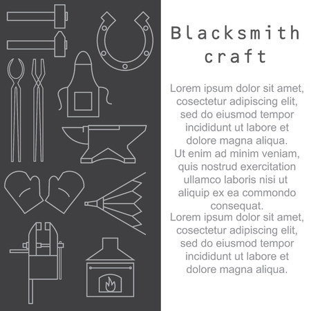 smithery: Blacksmithing craft. Article template with place for your text. Vector illustration.