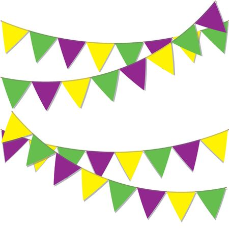 Yellow green and purple flags. Background for Mardi Gras.
