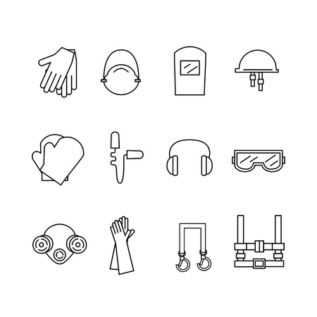 Protective equipment for eyes, head, ears, hands,  lungs and the body. Body protection and health. Vector illustration.