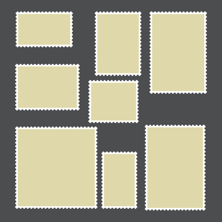 philately: Templates of postage stamps of different sizes. Vector illustration.