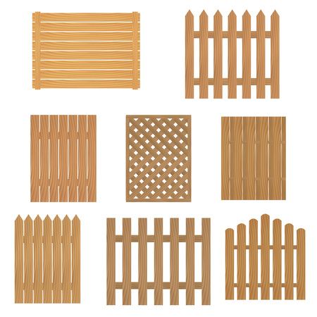 palisade: Different types of wooden fence. Fence of wood for your site or farm. Vector illustration.