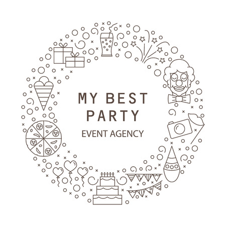 Festive agency is my best party. Party symbols for children and adults. Vector illustration.