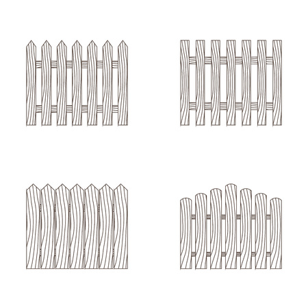 Wooden colorless fence of different kinds. Vector illustration.