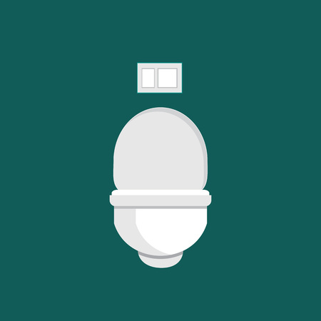 Modern hanging toilet with installation on the wall  in the style of flat. Vector illustration.