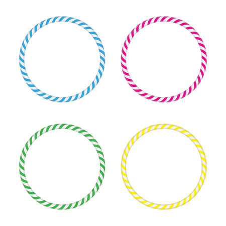 hula hoop: Four striped gymnastic hoops. Sports equipment. Vector illustration.