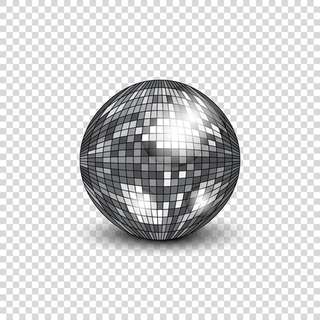 Disco ball with shadow. Mirror ball for decorating parties and discos. Vector illustration. Векторная Иллюстрация