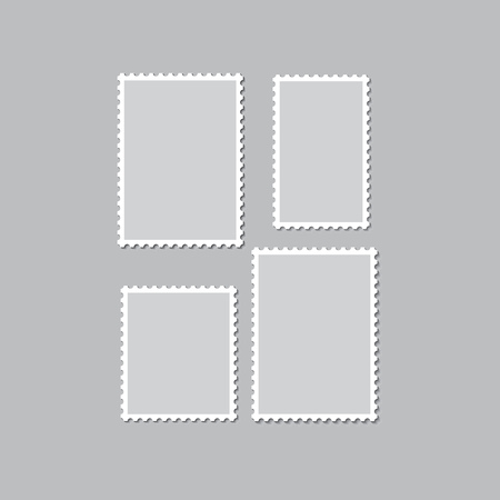 Blank postage stamps templates with shadow on a gray background. Vector illustration.