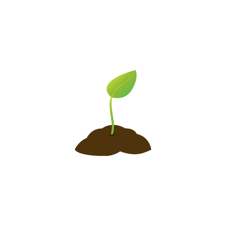 A young plant with one leaf in the ground. Vector illustration.