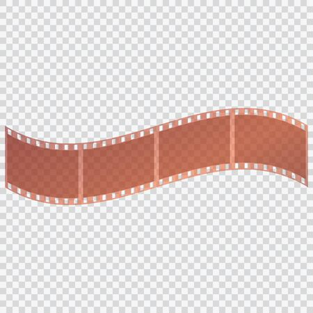 movie film: Film tape on a transparent background. Negative of the camera. Vector illustration.