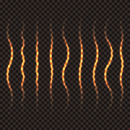 flamy: Set of wavy transparent golden lines. A trace of a golden shiny pencil. Fiery trail. Vector illustration.