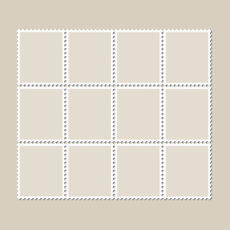 Unbroken vintage sheet of twelve postage stamps. Set of stamps on a light background with a shadow. Vector illustration. Иллюстрация